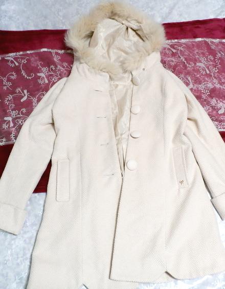 可愛い淡いピンク色フォックス毛皮ファーフードロングコート/アウター Cute pale pink fox fur hood long coat/outer