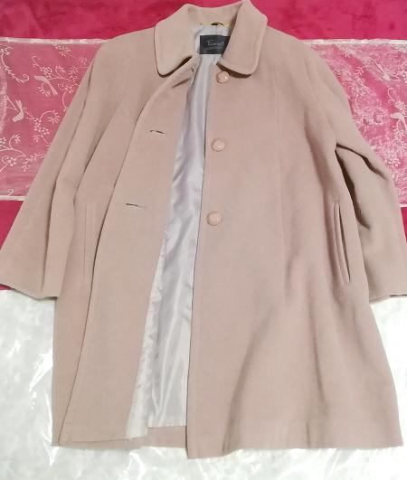 ピンクパープル毛100%シンプル無地ロングコート/外套/上着/羽織/日本製 Pink purple hair 100% simple long coat/jacket/made in Japan_画像4