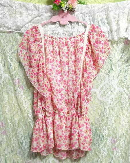 可愛いバラ花柄ピンクの紐付きフリル/チュニック/ワンピース Cute rose flower pattern pink frills/tunic/onepiece_画像4