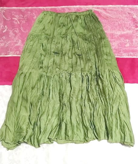 緑グリーン波状ロングマキシスカート Green wavy long maxi skirt_画像1