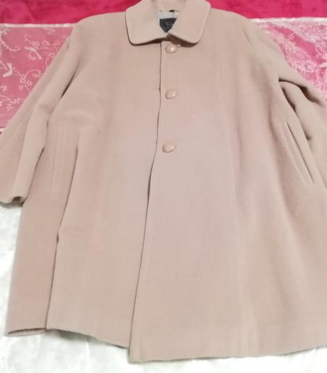 ピンクパープル毛100%シンプル無地ロングコート/外套/上着/羽織/日本製 Pink purple hair 100% simple long coat/jacket/made in Japan_画像6