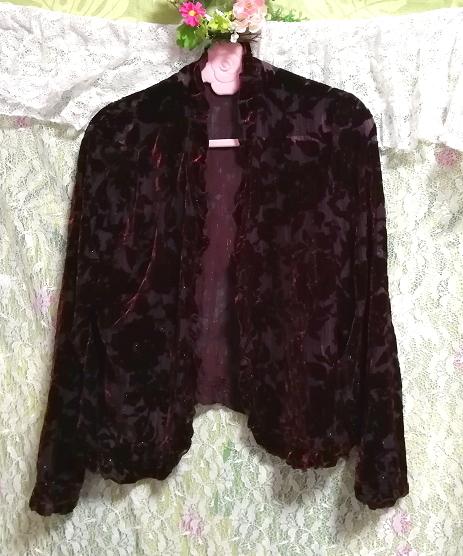 ワインレッド赤紫絹シルク花刺繍シフォン/羽織/カーディガン Wine red purple silk flower embroidery chiffon/coat/cardigan_画像3