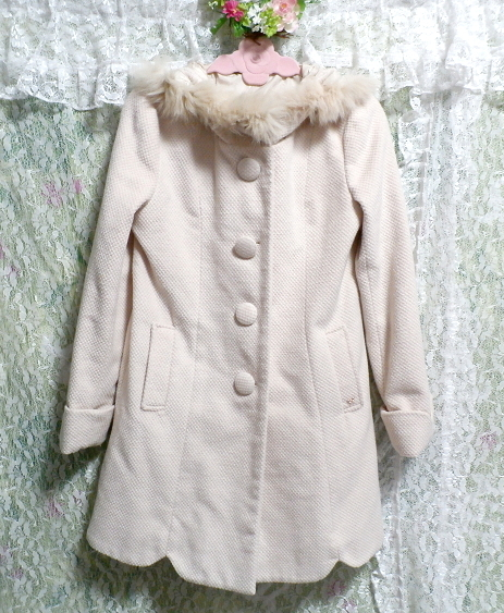 可愛い淡いピンク色フォックス毛皮ファーフードロングコート/アウター Cute pale pink fox fur hood long coat/outer_画像2