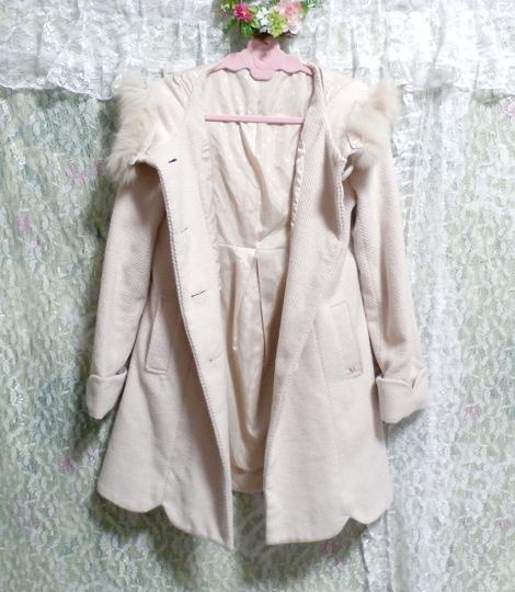 可愛い淡いピンク色フォックス毛皮ファーフードロングコート/アウター Cute pale pink fox fur hood long coat/outer_画像3
