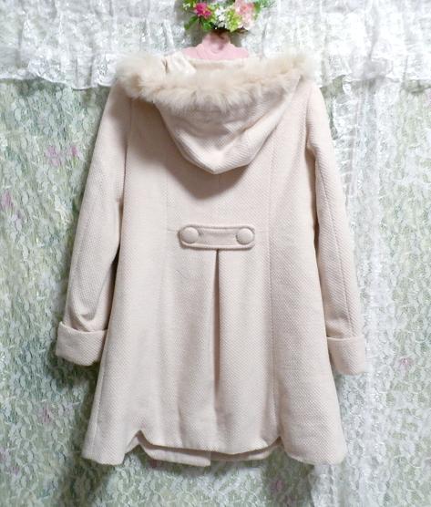 可愛い淡いピンク色フォックス毛皮ファーフードロングコート/アウター Cute pale pink fox fur hood long coat/outer_画像4