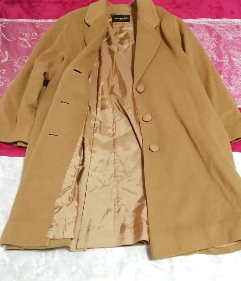 カシミヤ茶色ブラウンシンプルロングコート/外套/上着/羽織/日本製 Cashmere brown simple long coat/jacket/made in Japan_画像2