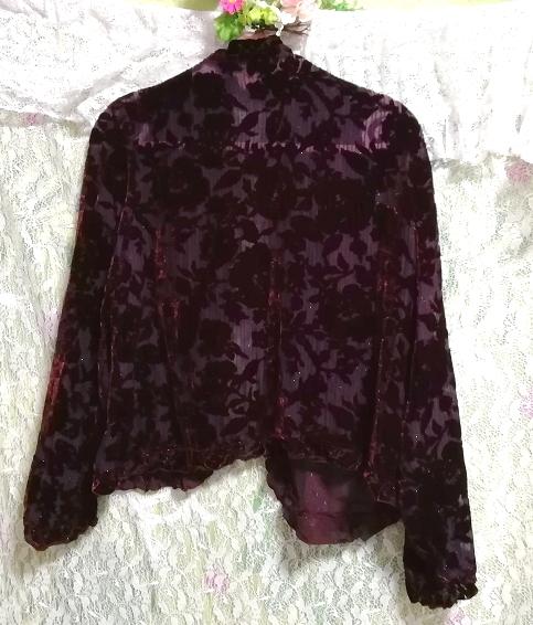 ワインレッド赤紫絹シルク花刺繍シフォン/羽織/カーディガン Wine red purple silk flower embroidery chiffon/coat/cardigan_画像5
