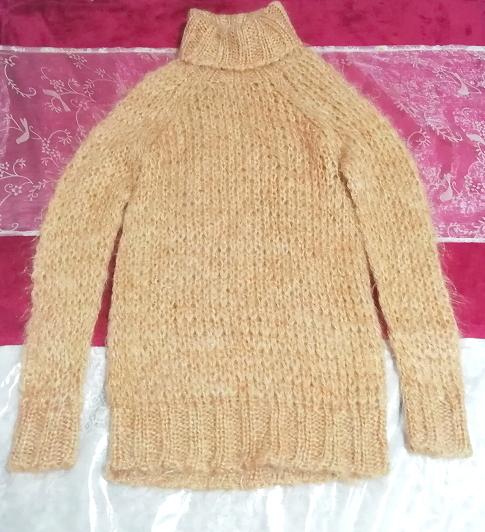 オレンジふわふわモヘア長袖セーター/ニット/トップス Orange fluffy mohair long sleeve sweater/knit/tops