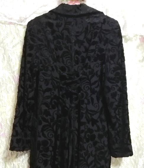 黒ブラック花柄刺繍ロングマキシトレンチコート/外套/上着/羽織 Black flower pattern embroidery long maxi trench coat/jacket_画像3