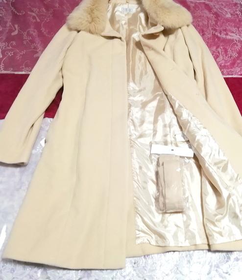 白フローラルホワイトアイボリーフォックスファー毛とアンゴラロングコートベルト付9号 Floral white ivory fox fur angola coat/jacket_画像2