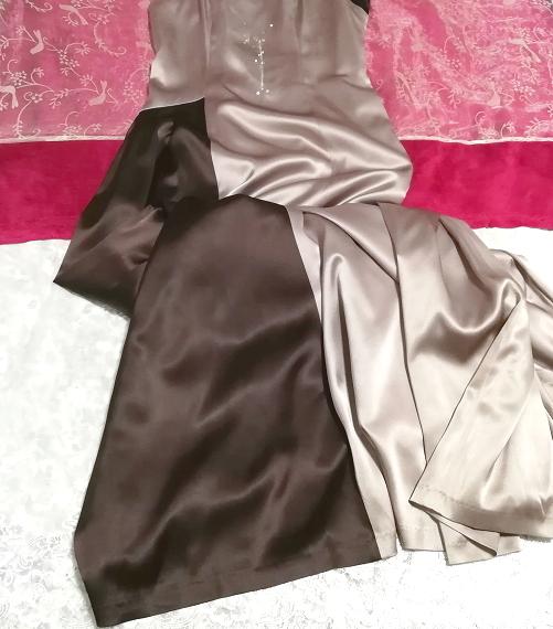 グレーブラウンイブニングパーティロングドレスマキシワンピース日本製 Gray brown evening party long dress maxi onepiece made in Japan_画像4