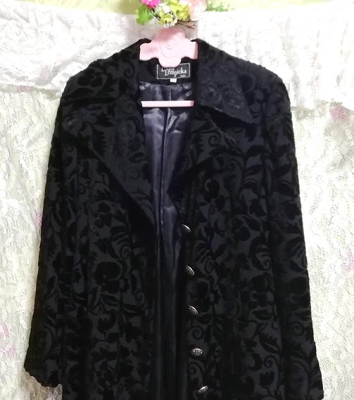黒ブラック花柄刺繍ロングマキシトレンチコート/外套/上着/羽織 Black flower pattern embroidery long maxi trench coat/jacket_画像4