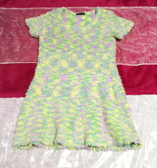黄と緑と紫色のふわふわ半袖/セーター/ニット/トップス Yellow green purple fluffy short sleeve/sweater/knit/tops_画像1
