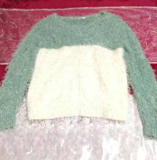 緑と白のシマシマふわふわ長袖/セーター/ニット/トップス Green and white fluffy long sleeves/sweater/knit/tops,ニット、セーター&長袖&Mサイズ