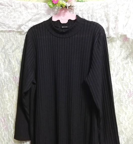 黒ワンピースロングセーター/ニット/トップス Black onepiece long sweater/knit/tops_画像3