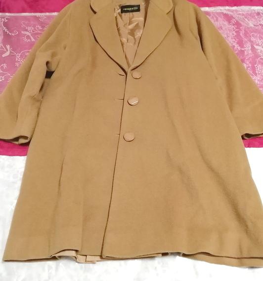 カシミヤ茶色ブラウンシンプルロングコート/外套/上着/羽織/日本製 Cashmere brown simple long coat/jacket/made in Japan_画像1