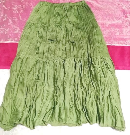 緑グリーン波状ロングマキシスカート Green wavy long maxi skirt_画像2