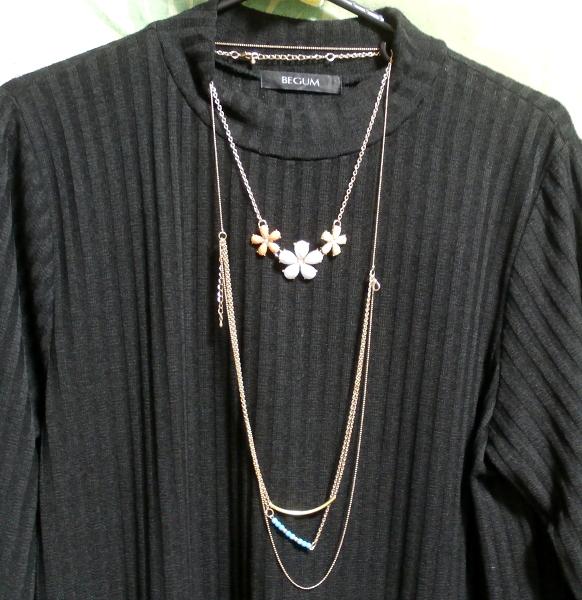 黒ワンピースロングセーター/ニット/トップス Black onepiece long sweater/knit/tops_画像4