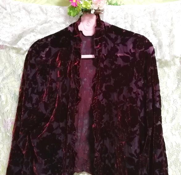 ワインレッド赤紫絹シルク花刺繍シフォン/羽織/カーディガン Wine red purple silk flower embroidery chiffon/coat/cardigan_画像4