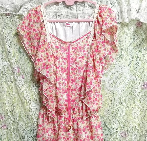 可愛いバラ花柄ピンクの紐付きフリル/チュニック/ワンピース Cute rose flower pattern pink frills/tunic/onepiece_画像5