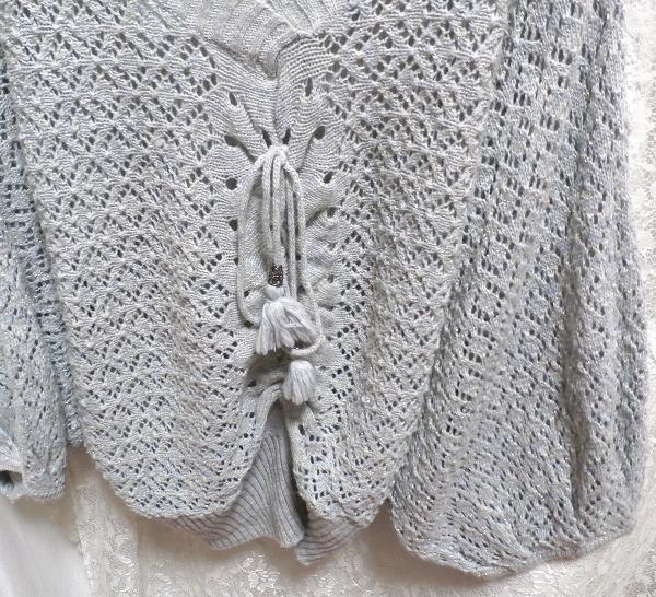 灰グレー水色ポンチョ型編みレース/セーター/ニット/羽織 Gray light blue poncho shape lace/sweater/knit/coat_画像3