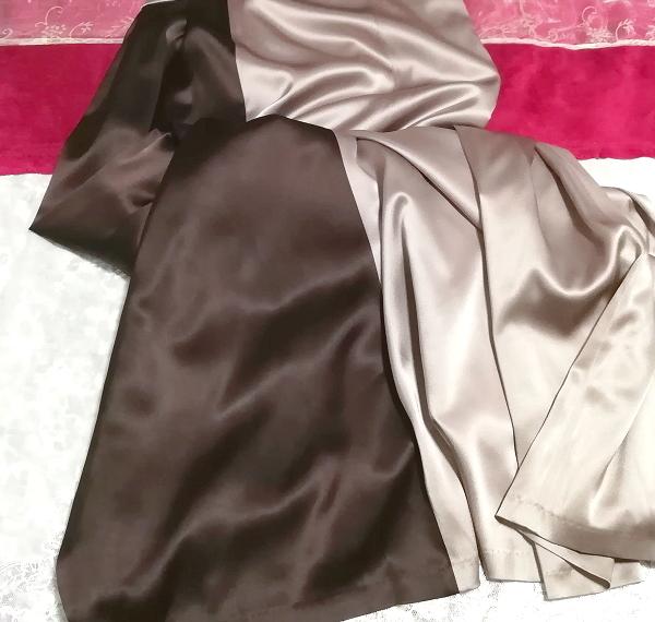 グレーブラウンイブニングパーティロングドレスマキシワンピース日本製 Gray brown evening party long dress maxi onepiece made in Japan_画像3