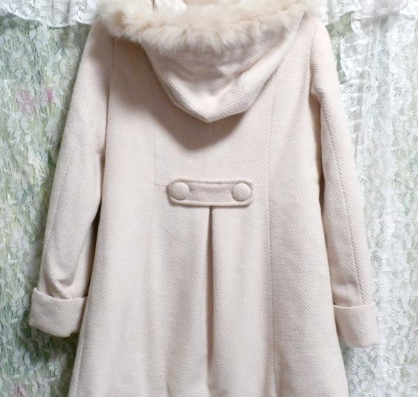 可愛い淡いピンク色フォックス毛皮ファーフードロングコート/アウター Cute pale pink fox fur hood long coat/outer_画像6