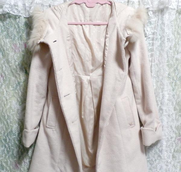 可愛い淡いピンク色フォックス毛皮ファーフードロングコート/アウター Cute pale pink fox fur hood long coat/outer_画像5