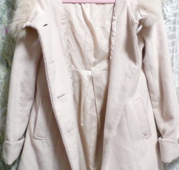 可愛い淡いピンク色フォックス毛皮ファーフードロングコート/アウター Cute pale pink fox fur hood long coat/outer_画像7