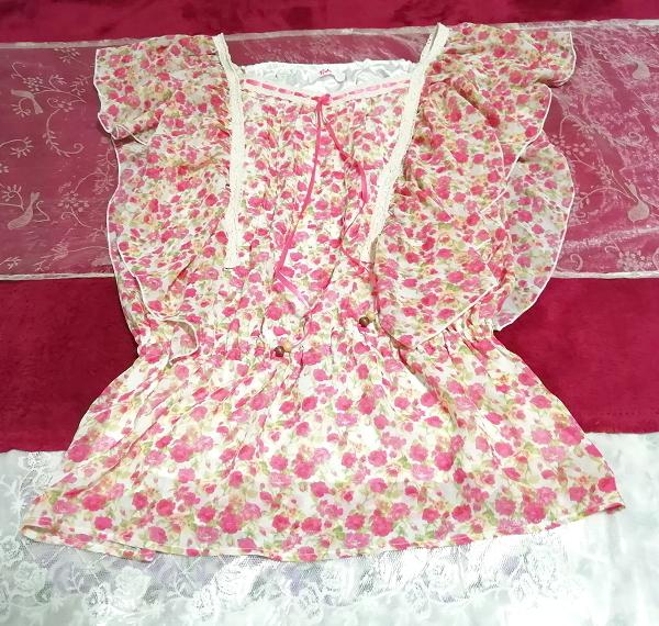 可愛いバラ花柄ピンクの紐付きフリル/チュニック/ワンピース Cute rose flower pattern pink frills/tunic/onepiece_画像2