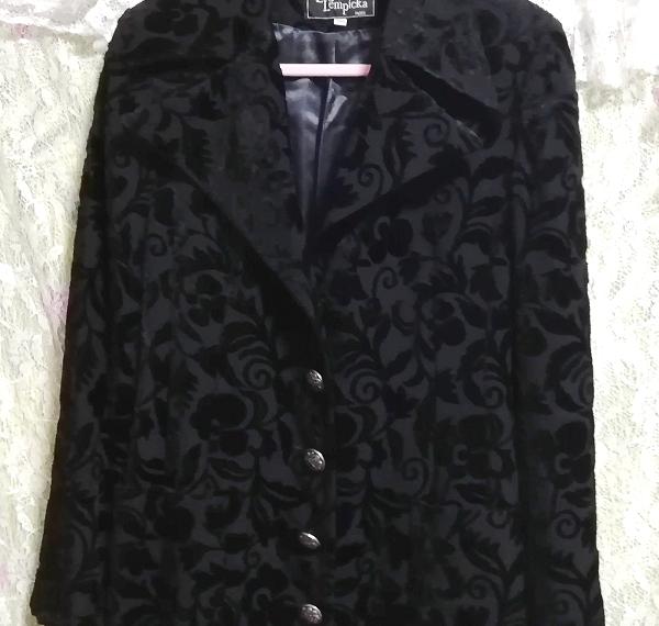 黒ブラック花柄刺繍ロングマキシトレンチコート/外套/上着/羽織 Black flower pattern embroidery long maxi trench coat/jacket_画像5