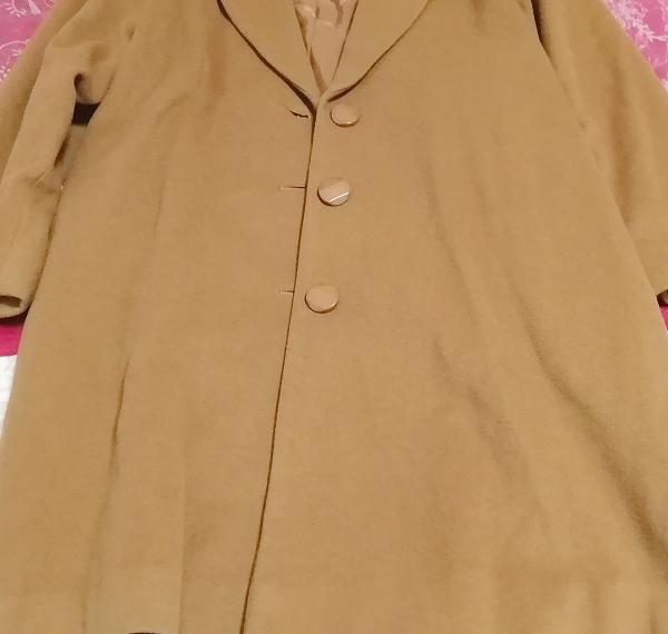 カシミヤ茶色ブラウンシンプルロングコート/外套/上着/羽織/日本製 Cashmere brown simple long coat/jacket/made in Japan_画像3