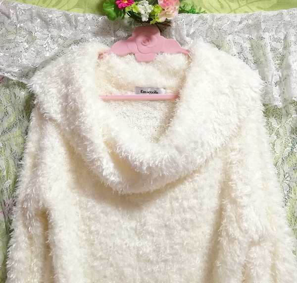 白ホワイトふわふわワンピース長袖大きめ100cmロングセーター/ニット/トップス White fluffy onepiece long sleeve large sweater/knit_画像5
