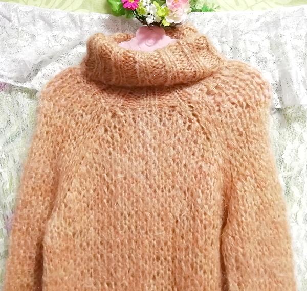 オレンジふわふわモヘア長袖セーター/ニット/トップス Orange fluffy mohair long sleeve sweater/knit/tops_画像4