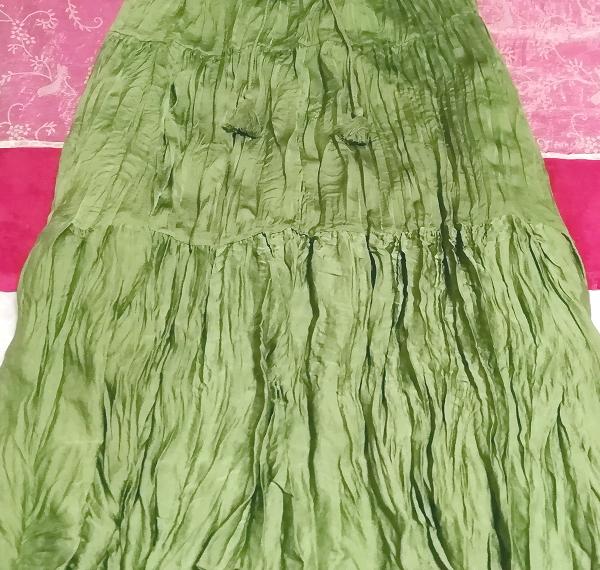 緑グリーン波状ロングマキシスカート Green wavy long maxi skirt_画像3