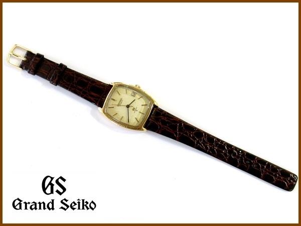 【K18】GRAND SEIKO◆5645-5000◆56GS 金無垢彫金角型 Vintage グランド セイコー_画像8