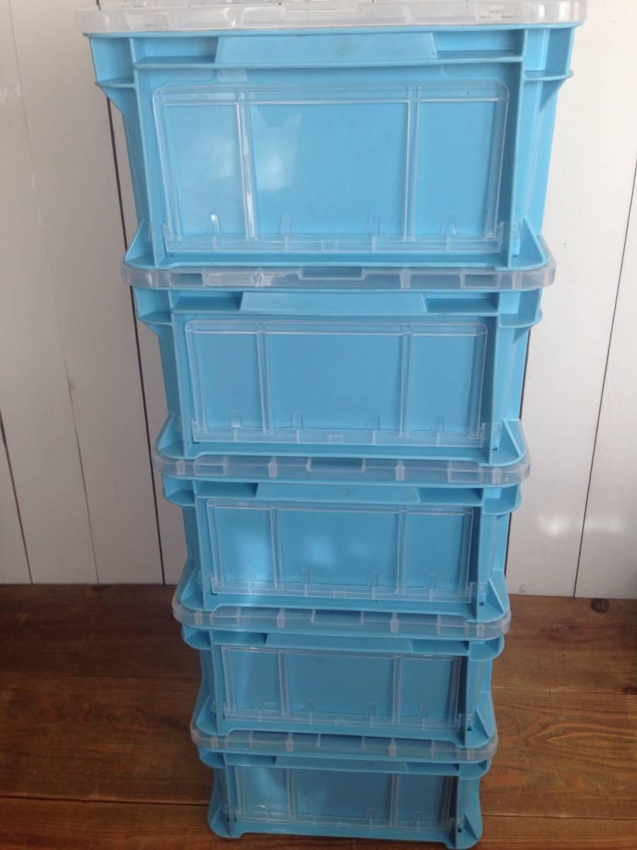 サンコー サンボックス#14-2B ライトブルー 5個セット コンテナボックス フタ付き カード差し134型 片面付 業務用道具箱 ツールボックス