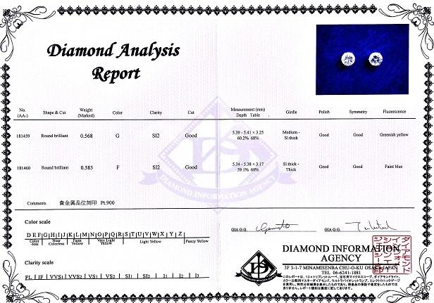 [珠寶商本鋪]總1.153ct·F·G-SI2-良好PT900耳環(珠寶鑑定與紙) 編號:q247410426