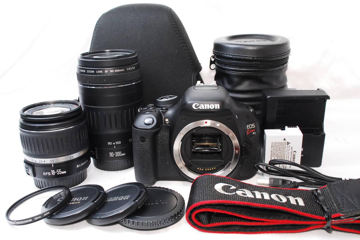 ★【新品級 超望遠スターターセット】Canon EOS Kiss X5 ★EF-S18-55 II USM EF90-300 ダブルレンズ バリアングル液晶搭載 動画撮影もOK