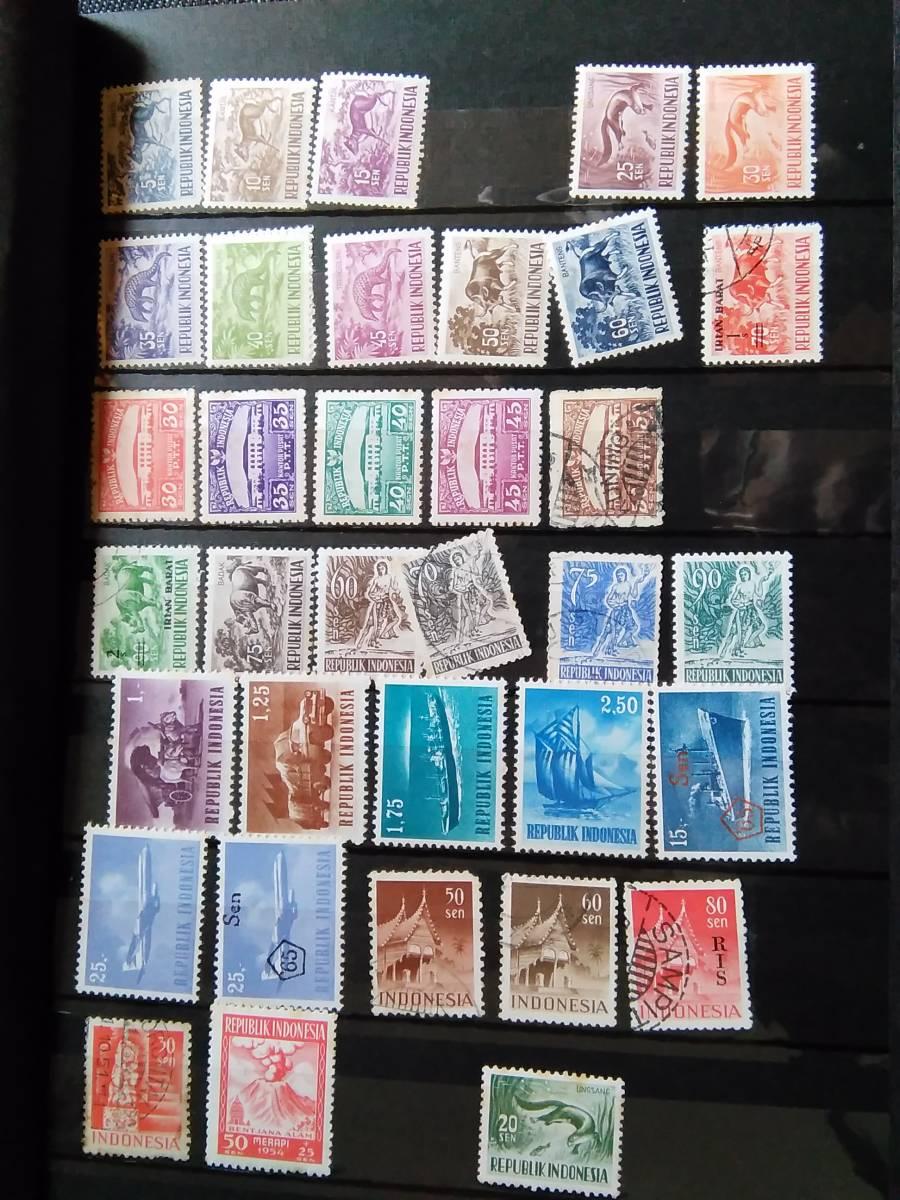切手のコレクション コレクター放出品 海外多め インドネシア シンガポール ネパール 使用済み 送料込  D2