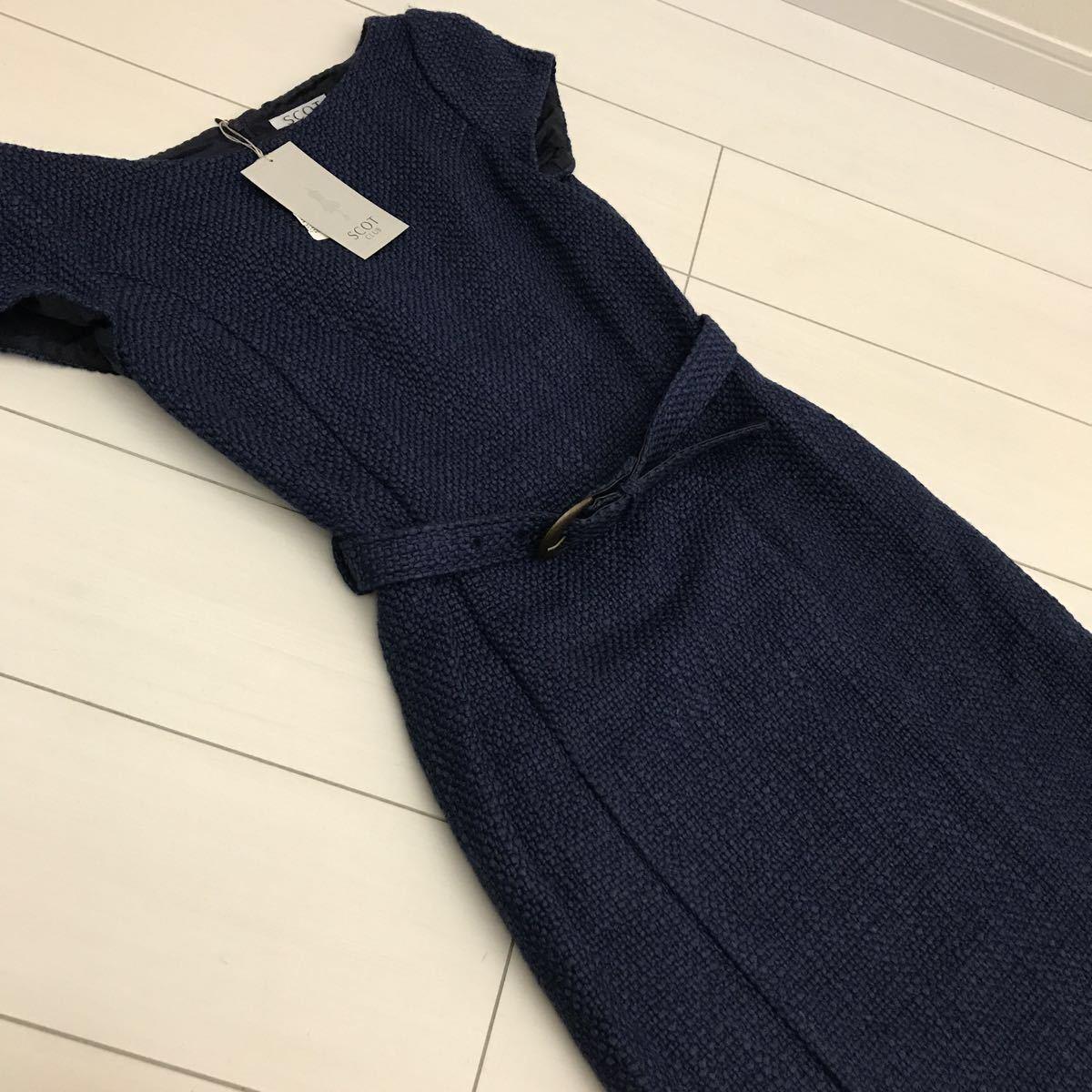 全新未使用的斯科特俱樂部SCOT CLUB One piece Tweed海軍藍深藍簡約連體Aga Arga最愛演示考試畢業典禮M 9期 編號:n303581750