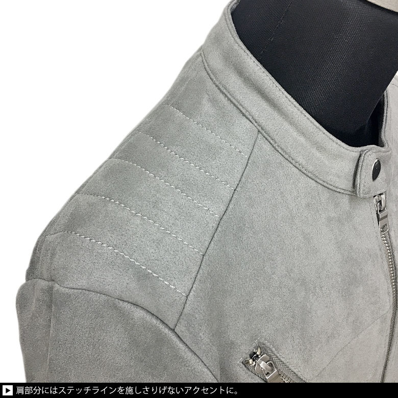 Bernings-Shoフェイクスウェードシングルライダースジャケット JKT 1037-43新品グレーL_画像5