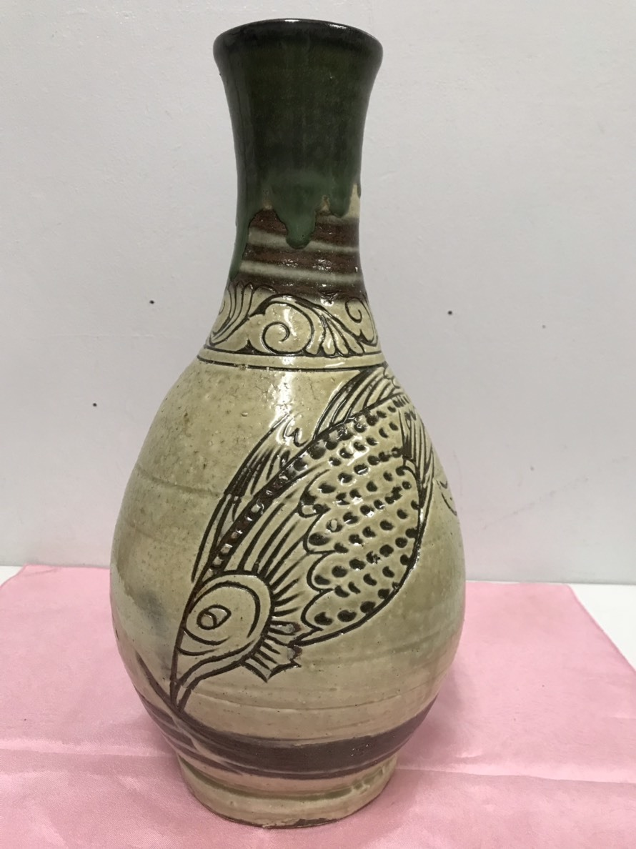 ★Tsuboya燃燒人類國寶Kinjo Jiro Futoshi魚寫大花瓶無盒陶瓷 編號:t608508316