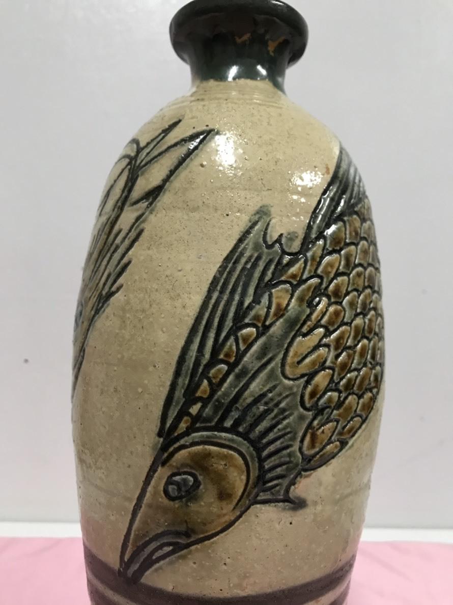 ★Tsuboya燃燒人類國寶Kinjo Jiro蝦魚鳳頭花瓶共同擁有沒有陶瓷 編號:n305403096