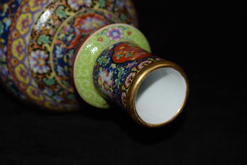 中国磁器 琺瑯彩 描金 花鳥紋 花瓶 花器 置物 賞物 賞瓶 貴重 稀少珍品  編號:d323489332
