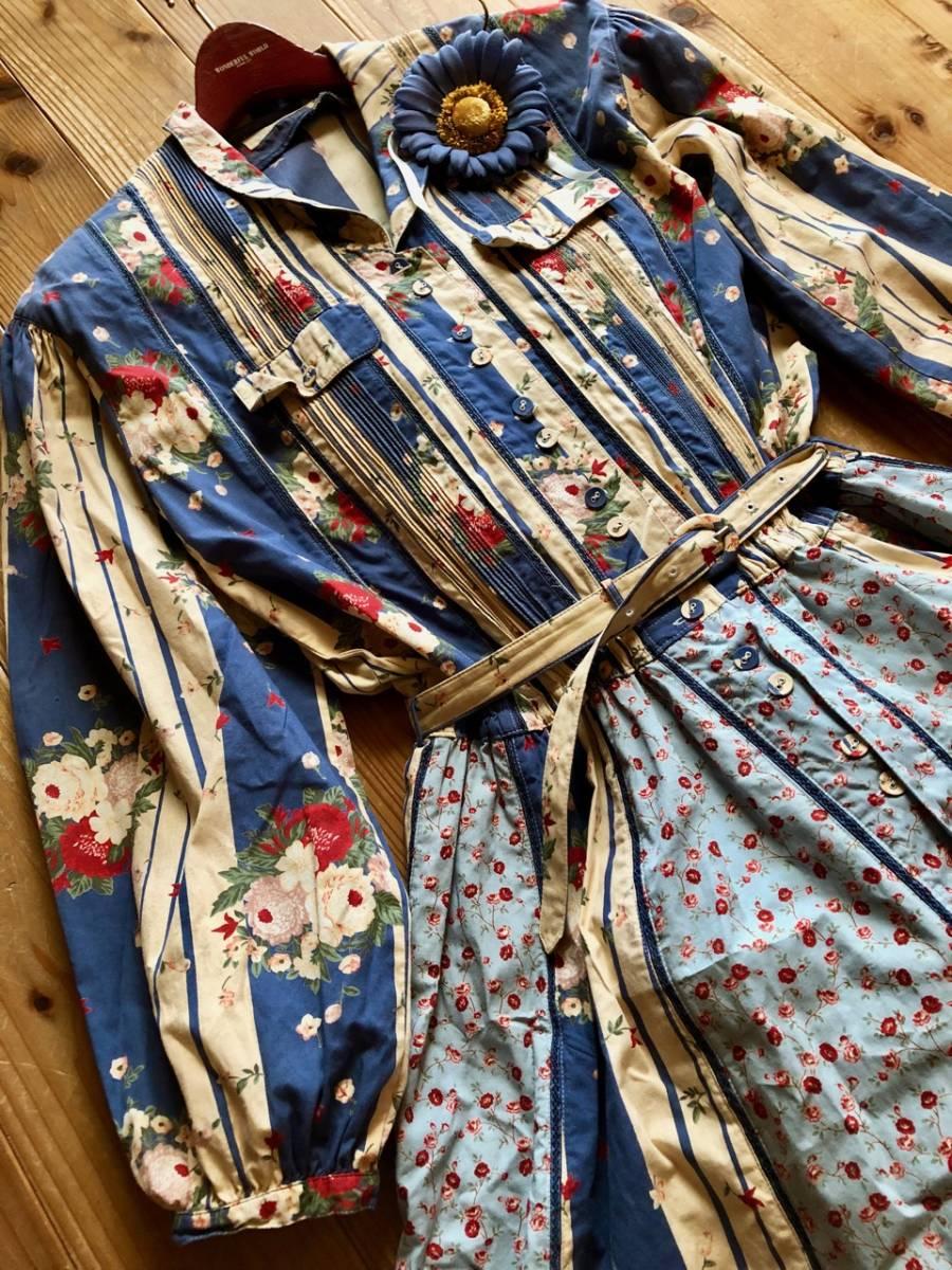 ピンクハウス 綿☆花柄 ストライプパッチワンピース&綿ローンブラウス ブルー系_画像5