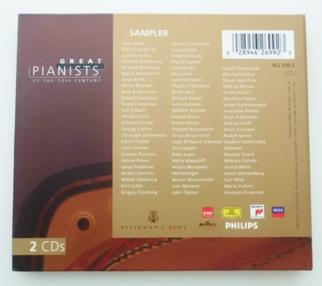 """2 CDs """"Great Pianists of the 20th Centuries"""" Philips Classics 462 699-2 サンプラー 20世紀の偉大なるピアニスト 輸入盤 UK_画像10"""
