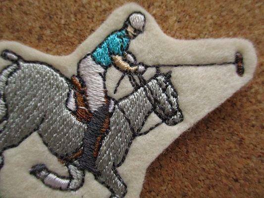 80s 馬 うま ポロ 刺繍 フェルト ワッペン パッチ /昭和レトロ 乗馬 競馬 G1 動物 牧場 ポロ POLO 酪農_画像2