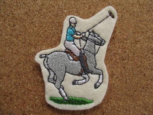 80s 馬 うま ポロ 刺繍 フェルト ワッペン パッチ /昭和レトロ 乗馬 競馬 G1 動物 牧場 ポロ POLO 酪農_画像1
