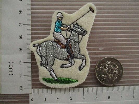 80s 馬 うま ポロ 刺繍 フェルト ワッペン パッチ /昭和レトロ 乗馬 競馬 G1 動物 牧場 ポロ POLO 酪農_画像6